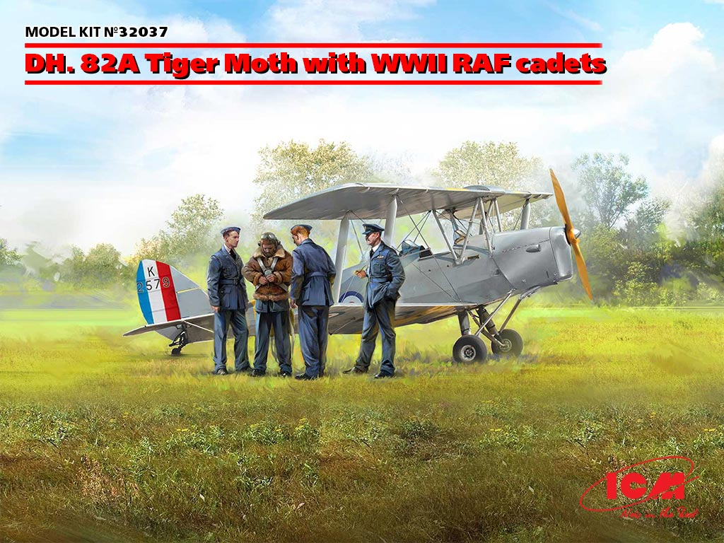 32037 dh. 82a tiger moth with wwii raf cadets