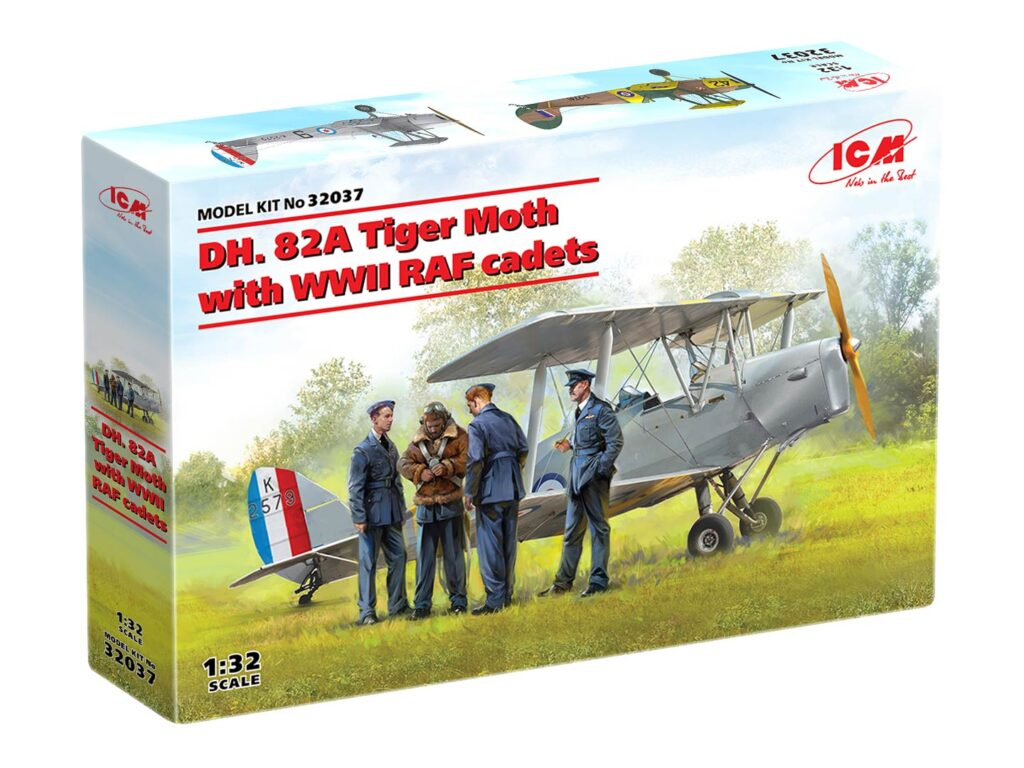 box dh. 82a tiger moth with wwii raf cadets 32037