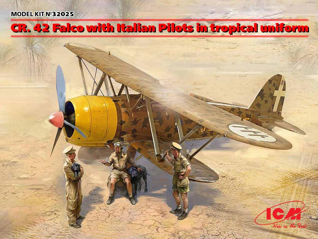 32025 cr. 42 falco with italian pilots in tropical uniform icm eng