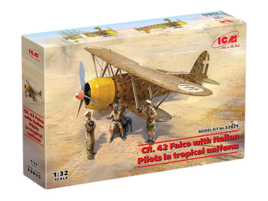box 32025 cr. 42 falco with italian pilots in tropical uniform icm
