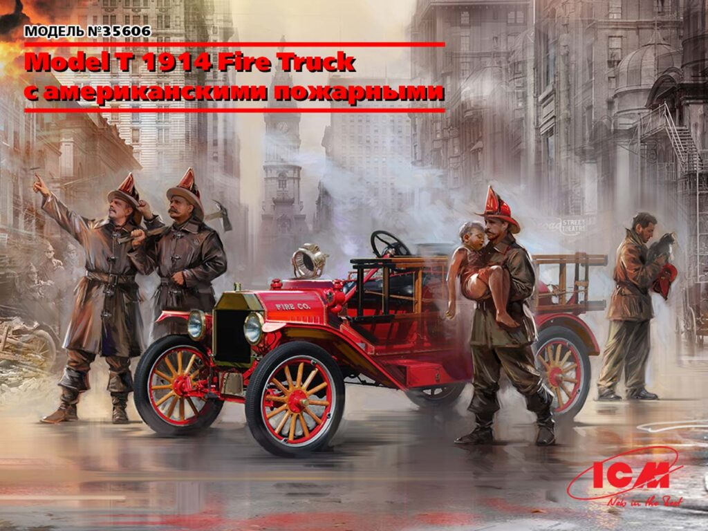 35606 model t 1914 fire truck with crew rus